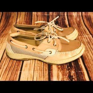 Bjorndal boat shoes, tan, size women 6.5